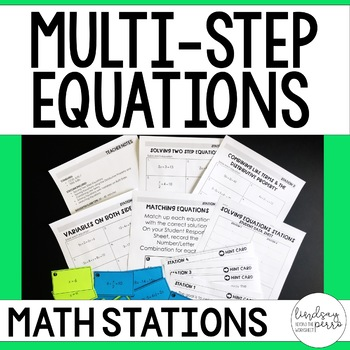 Multi-Step Equations Math Stations