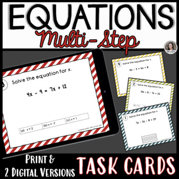 Solving Multi Step Equations Task Cards