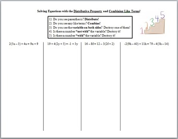 Solving Multi-Step Equations with Distributive Property an