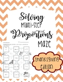 Solving Multi-Step Proportions Maze - Thanksgiving Edition