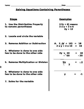 Solving Multiple Step Equations Notes and Assignments