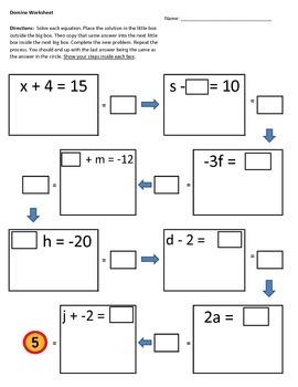 Solving One-Step Eq worksheet