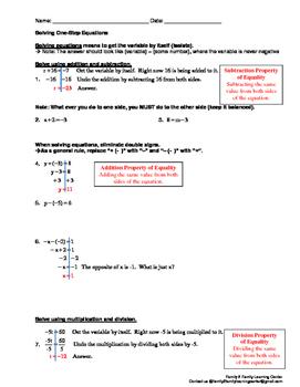 Solving One-Step Equation Worksheet