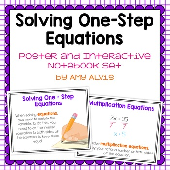 Solving One Step Equations Posters and Interactive Notebook Set