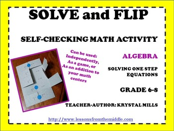 Solving One Step Equations: Solve and Flip Freebie (Math g