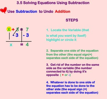 Solving One Step Equations Using Subtraction on smart boar