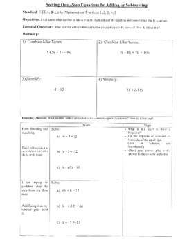 Solving One-Step Equations by Adding/Subtracting (7.EE.4;