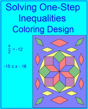 Solving One-Step Inequalities or Equations #2 Coloring Activity