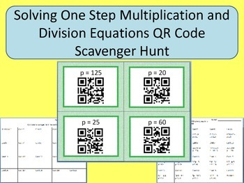 Solving One Step Multiplication and Division Equations QR