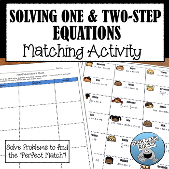 """Solving One & Two-Step Equations """"MathMatch"""" Cut & Paste Activity"""
