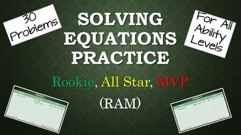 Solving One-Variable Equations Practice - Rookie, All-Star