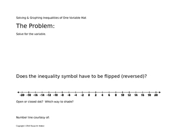 Solving One-Variable Inequalities White Board or Overhead