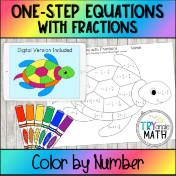 Color by Number Turtle - Solving One step Equations with F