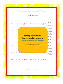 Solving Polynomials Practice and Assessment