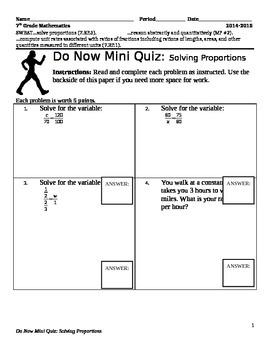 Solving Proportions Mini Quiz (7.RP.1) (7.RP.3)