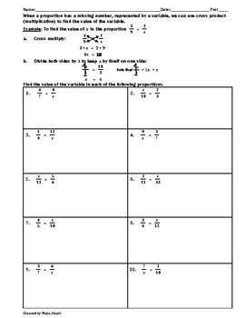 Solving Proportions Practice Worksheet