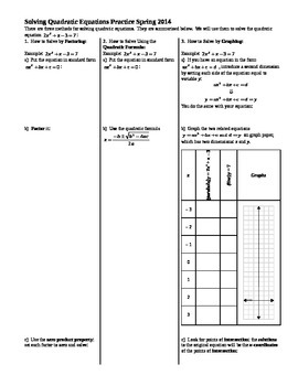 Solving Quadratic Equations Practice Spring 2014