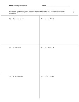 Solving Quadratic Equations Quiz (3 versions)
