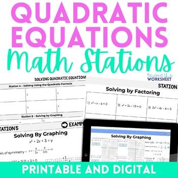 Quadratic Equations Algebra Stations
