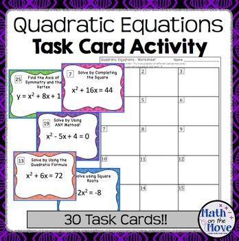 Quadratic Equations - Task Card Activity