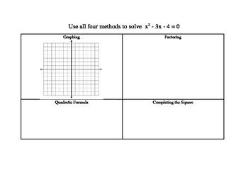 Solving Quadratic Functions Graphic Organizer
