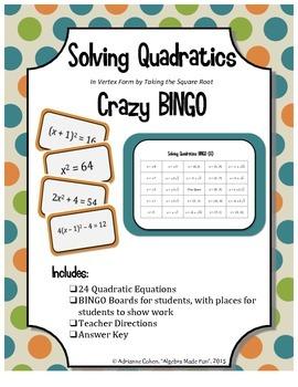 Solving Quadratics Crazy Bingo (Solve by taking square roo