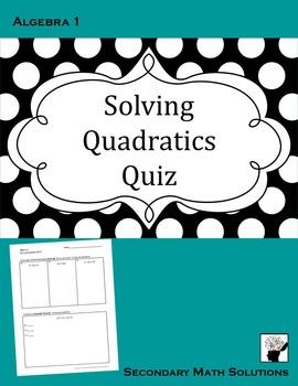 Solving Quadratics Quiz