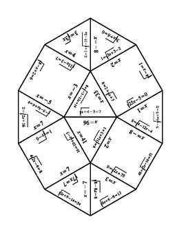 Solving Radical equations Puzzle