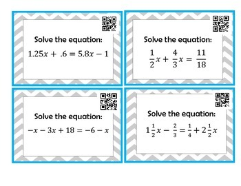 Solving Rational Equations Task Cards *QR Codes*
