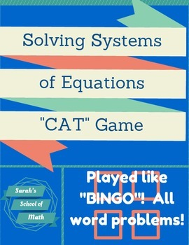 "Solving System of Equations Word Problem ""CAT"" Game (playe"