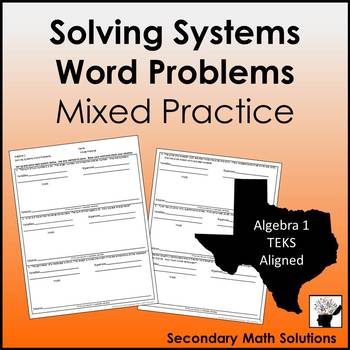 Solving Systems Word Problems Mixed Practice
