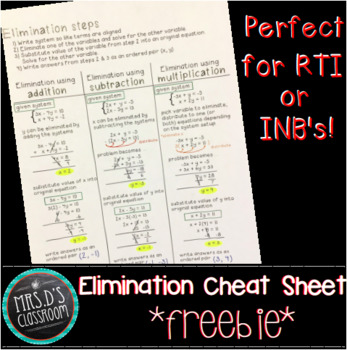 Solving Systems by Elimination {cheat sheet}