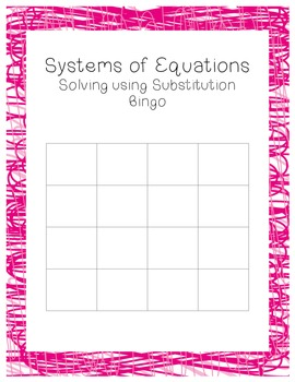 Solving Systems by Substitution Review Bingo
