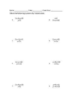 Solving Systems of Equations By Substitution Worksheet and