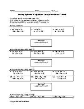Solving Systems of Equations using Elimination - Leveled W