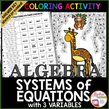 Solving Systems of Equations with 3 Variables Coloring Activity