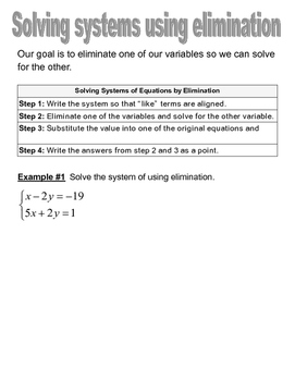 Solving Systems of Linear Equations by Elimination Graphic