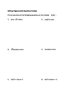 Solving Trigonometric Equations Practice worksheets