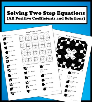 Solving Two Step  Equations (All positive coefficient/solu