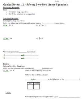 Solving Two-Step Equations - Notes