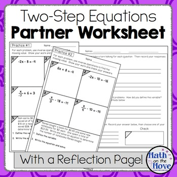 Two-Step Equations - Partner Practice and Reflection Activity