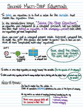 Solving Two-Step Equations - instructions, lesson, solved