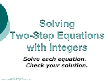 Solving Two Step Equations with Integers (Instructional Po