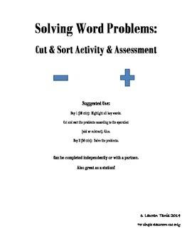Solving Word Problems:  Cut & Sort Activity/Assessment