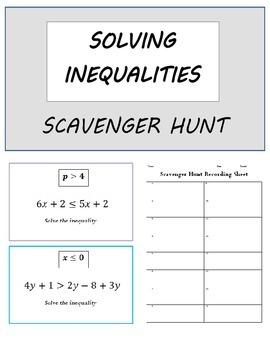 Solving & Writing Inequalities Scavenger Hunt