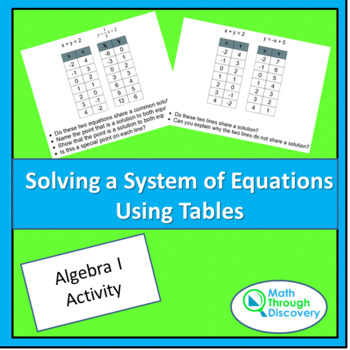 Solving a System of Equations Using Tables