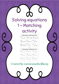 Solving basic equations - Matching activity - Math - Algebra