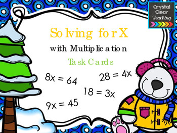 Solving for X with Multiplication - Winter Themed