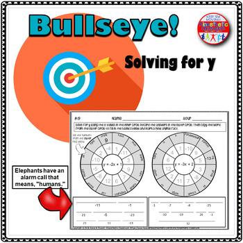 Solving for Y Worksheets: Bullseye