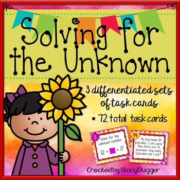 Solving for the Unknown ~ Addition & Subtraction ~ 72 Diff